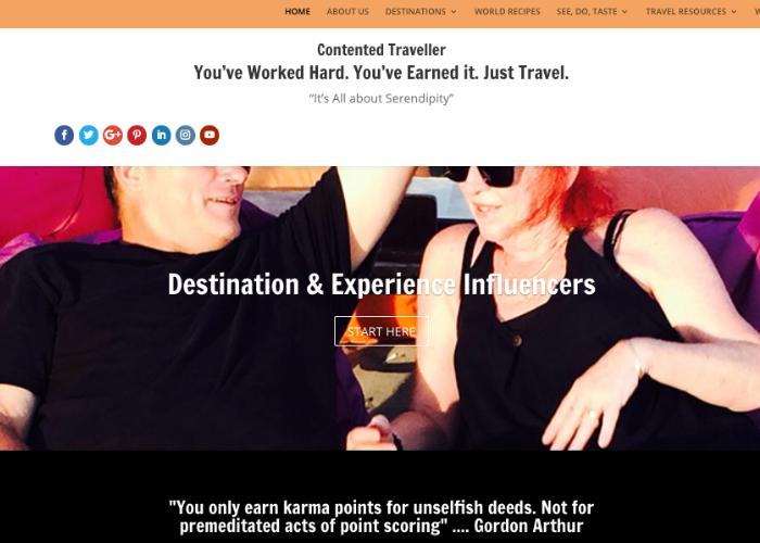 Homepage for Australian blog, Contented Traveller