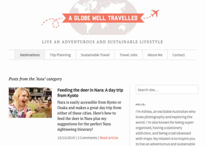 Homepage for Australian Travel Blog,  A Globe Well Travelled, with pictures from destinations like Nara
