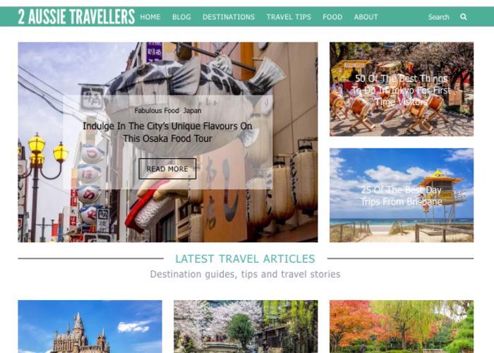 Homepage for 2 Aussie Travellers, an Australian travel blog