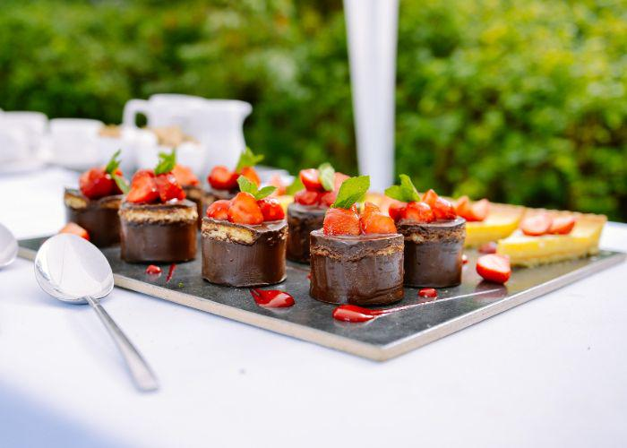 A platter with strawberry cakes