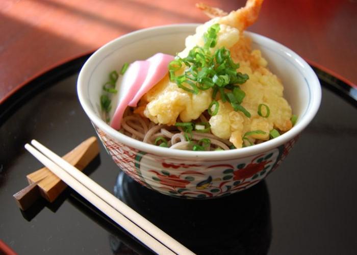 A bowl of toshikoshi soba, Japanese New Year soba noodles, topped with shrimp tempura