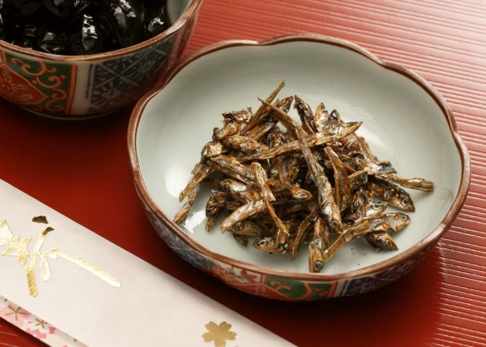 Gomame, small dried sardines, in a beautiful Japanese bowl