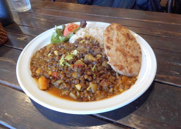 A bowl of vegan comfort food from Otis, a Tex-Mex restaurant in Hiroshima