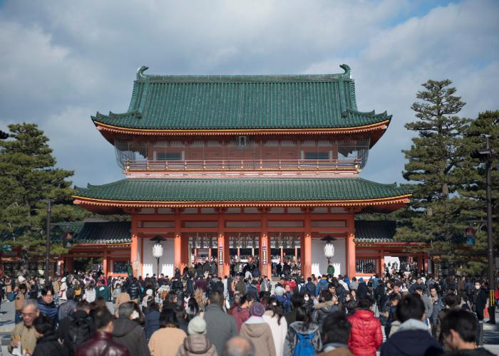 Crowd in Heian Jingu for Hatsumode the first shine visit of the year