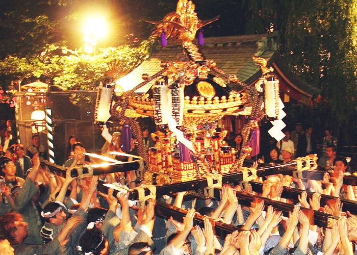 Mikoshi parade in the night.