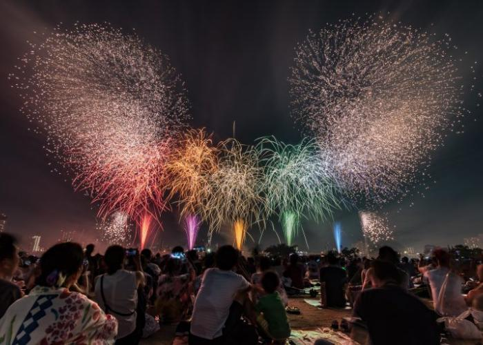 Colorful fireworks blooming in the sky.