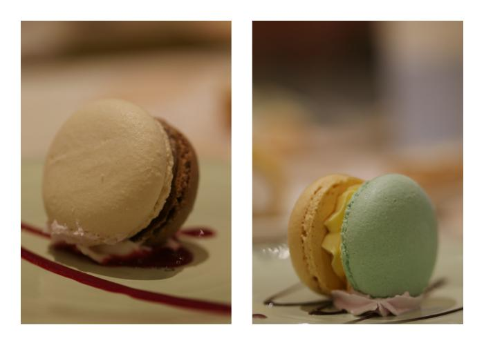 Two flavors of macarons - Chocolate and Mint.