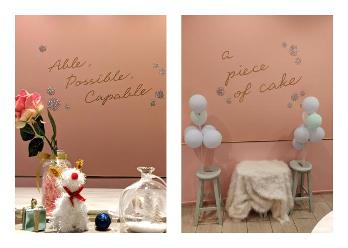 Two photo spots in the cafe.