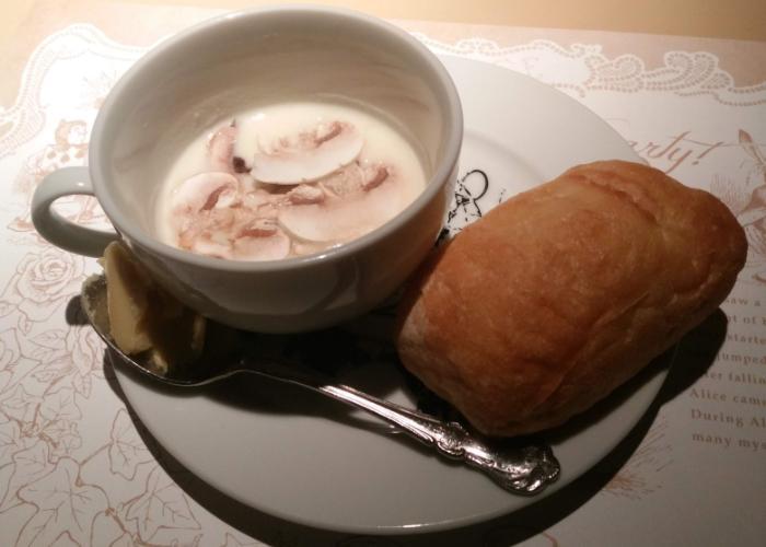 Cheesy mushroom soup from Alice in Wonderland themed restaurant in Tokyo
