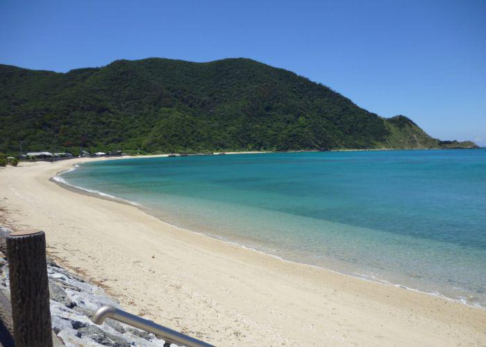 Amami Oshima Island with a sandy beach and clear blue water