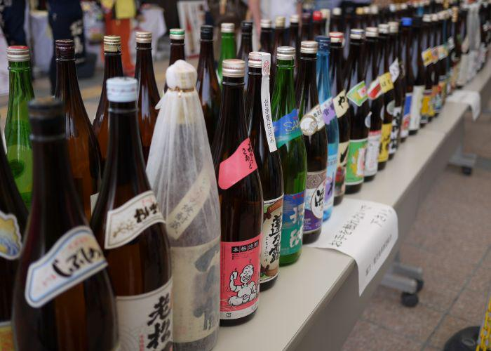 Shochu bottles lined up on a table