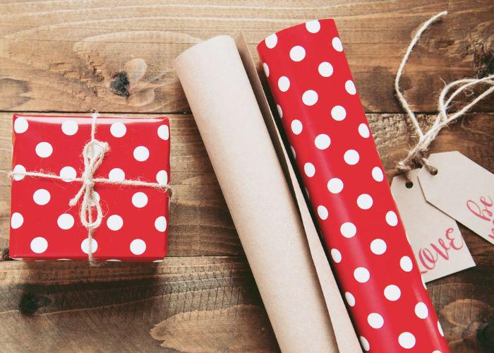 Valentine's day polka-dotted red and white gift wrapping