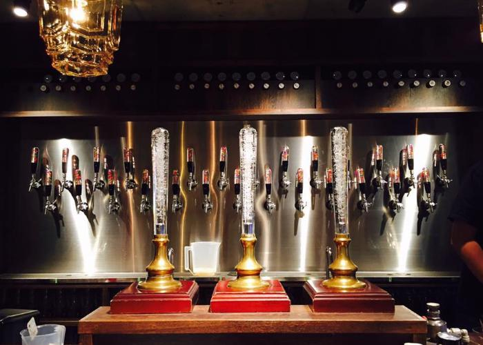 A line of taps on the wall.