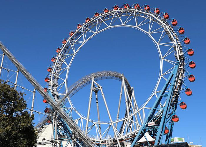 The Big O roller coaster in Tokyo Dome City.
