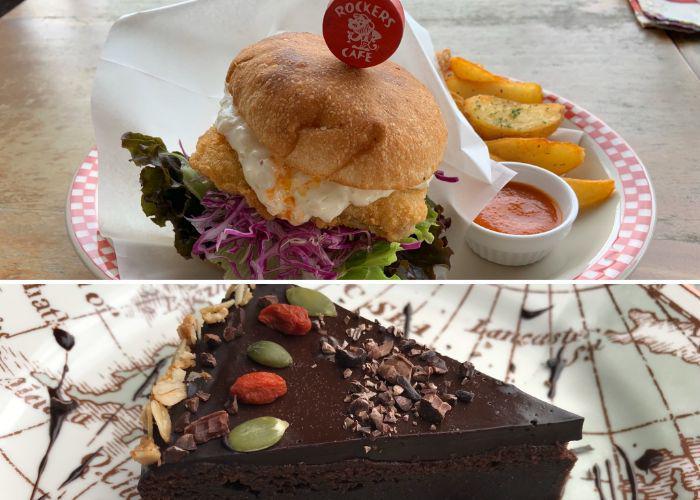 Vegan chocolate tart and burger from Rockers Cafe Okinawa