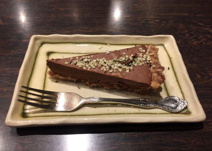 Vegan chocolate tart from Kissa Saeki in Hiroshima
