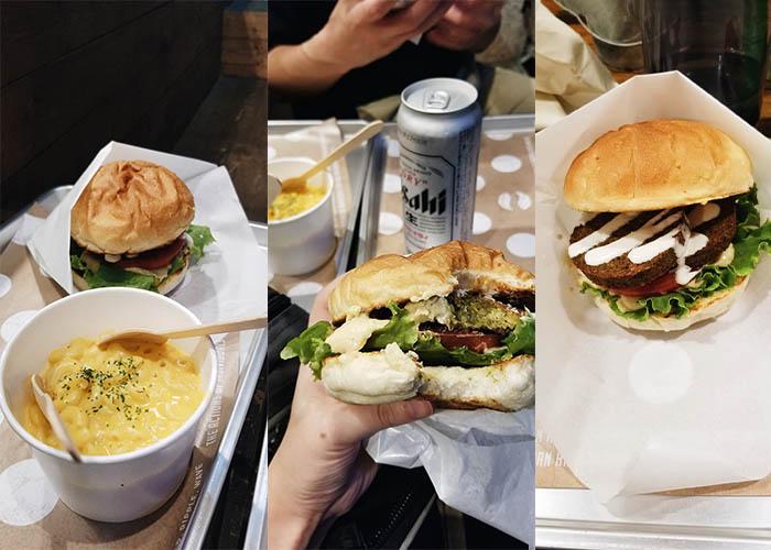 Ain Soph Ripple vegan falalfel burgers with a side of vegan mac and cheese