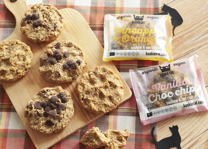 Vegan cookies from Natural Lawson laid on a cutting board over a plaid cloth