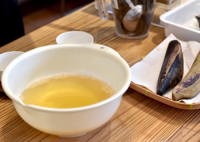 Dashi broth made from katsuobushi fish flakes
