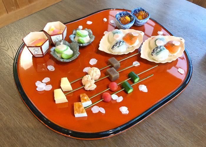 Red platter from Komago Michelin Starred Restaurant