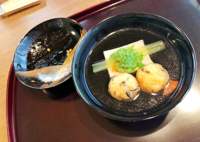 Soup from Komago, a Michelin-starred restaurant in Hyogo