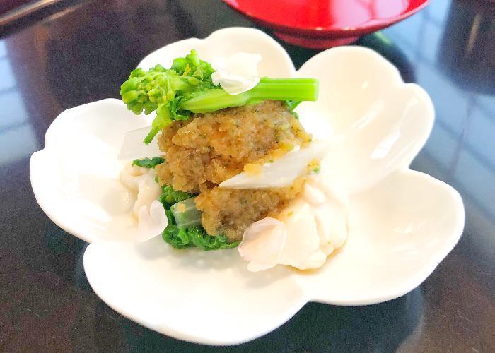 Komago Michelin Starred Restaurant appetizer, in a white dish