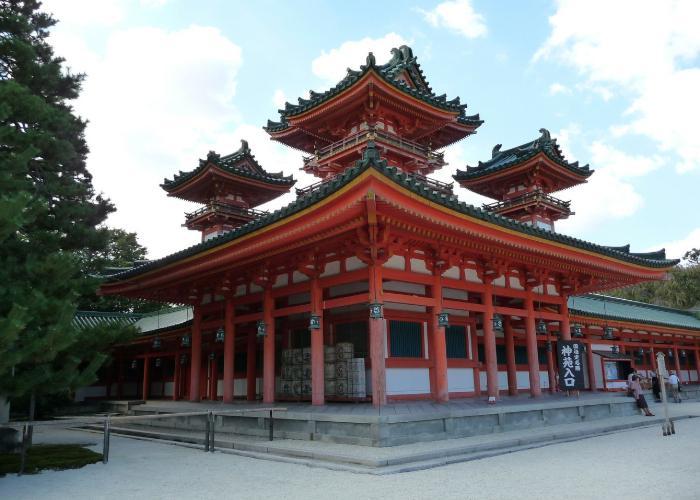 The stunning red Heian Jingu Shrine in Kyoto