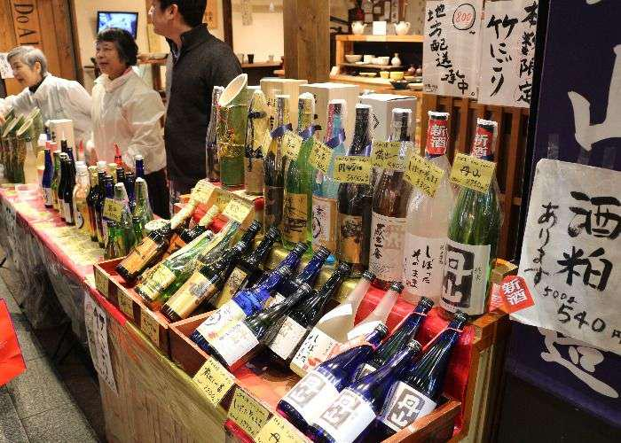 Kyoto produced sake bottles in exhibition