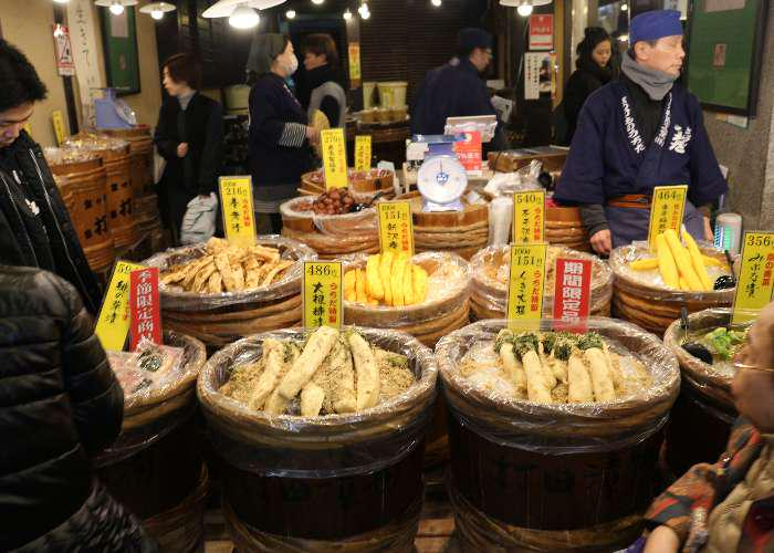 Shop with tsukemono (pickled vegetables) in wooden barrels
