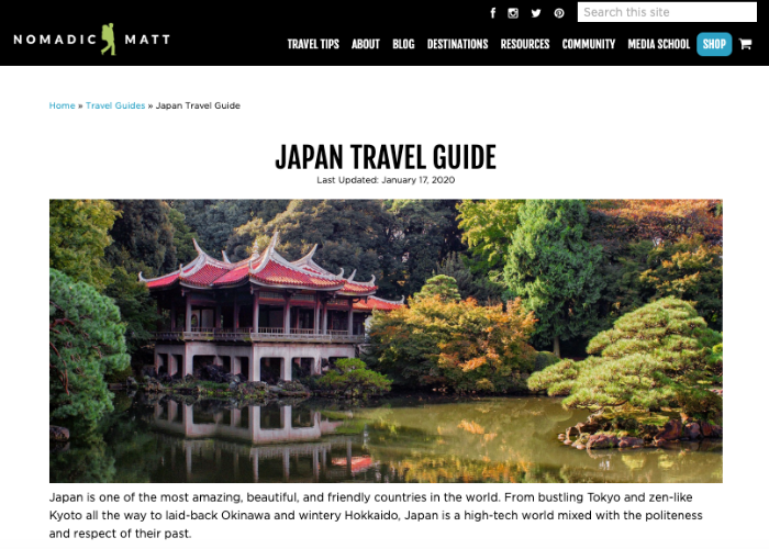 Nomadic Matt Japan Page