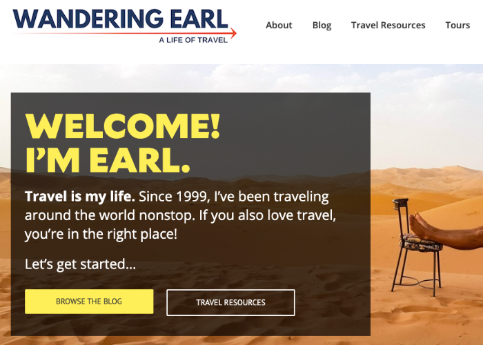 Wandering Earl Travel Page