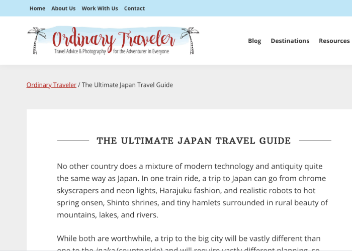 Ordinary Traveler Japan Travel Guide Page
