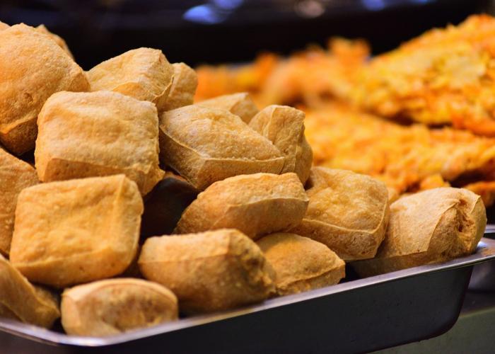 Fried tofu at a street food festival