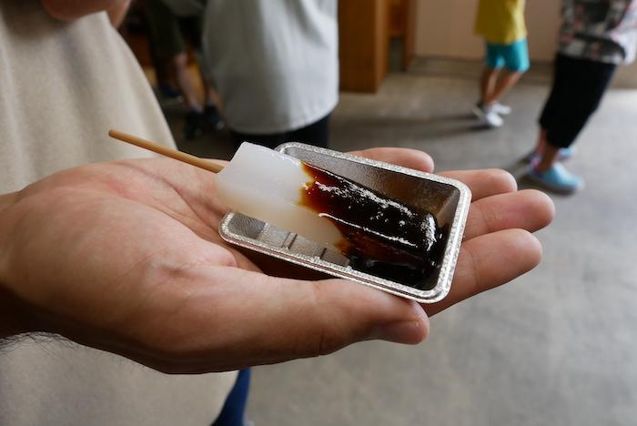 Konnyaku oden slathered in a dark red miso sauce from Nagoya
