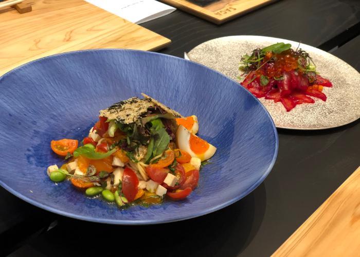 Noodle dish and fish carpaccio dish