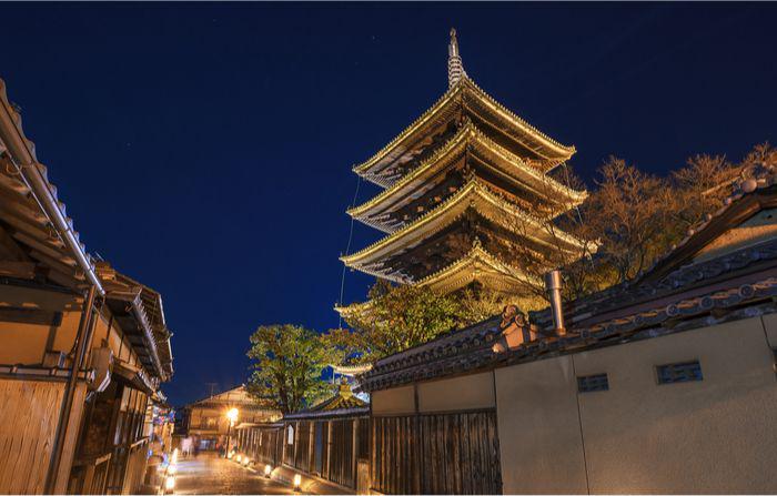 Yasaka pagoda in Kyoto, japan, lit up at night during Higashiyama Hanatouro festival.