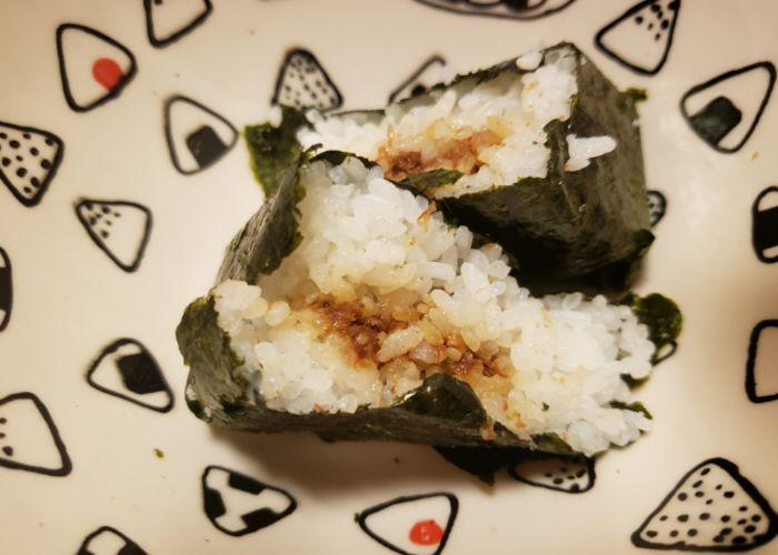 Okaka onigiri rice ball with a filling of dried bonito flakes
