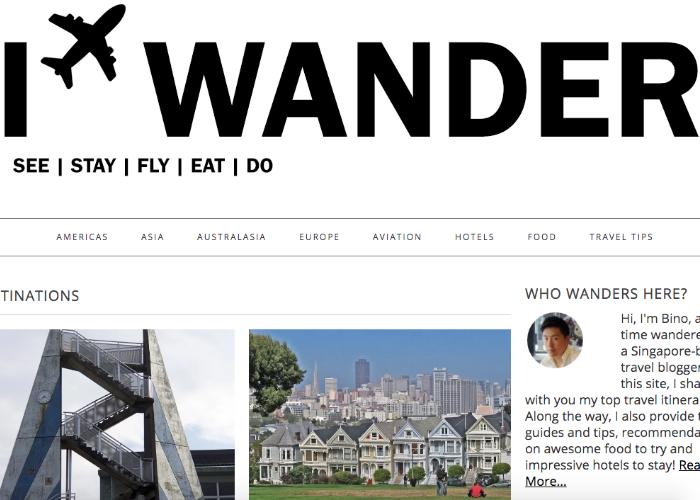 I Wander homepage, a blog run by a Singapore-based bloggers
