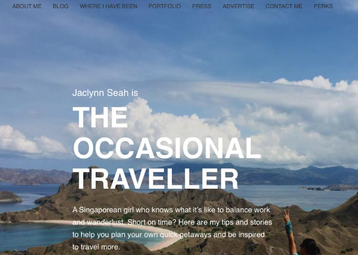 Screenshot of The Occasional Traveller homepage with a backdrop of the beach