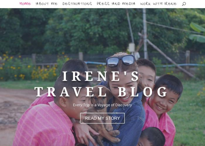 Irene's Travel Blog homepage with a photo of Singaporean travel blogger Irene smiling as she holds a dog, surrounded by children