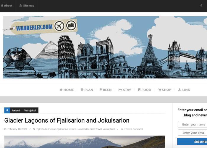 Wanderlex homepage - a blog by a Singaporean travel blogger