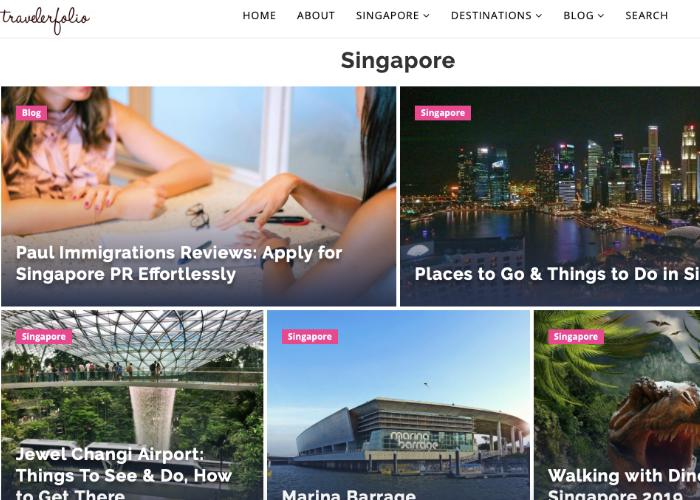 Traveler Folio Homepage featuring articles about immigration and things to do at Jewel Changi Airport