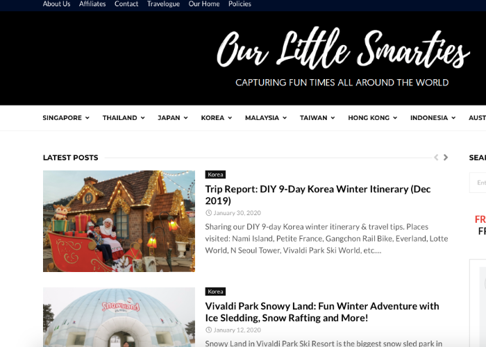 Singaporean blog, Our Little Smarties homepage with latest posts