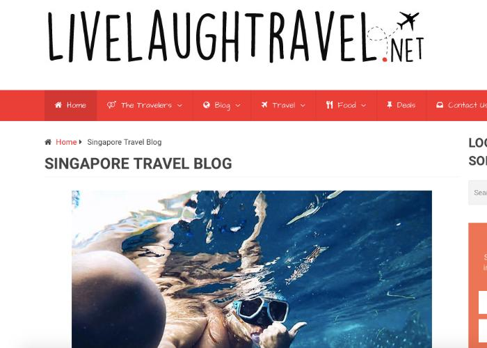 Homepage for Singaporean travel blog, Live Laugh Travel