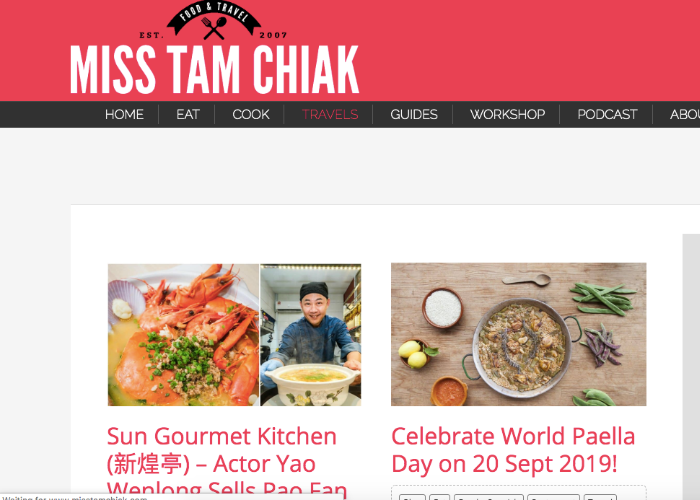 Travel homepage for Singaporean travel blog, Miss Tam Chiak