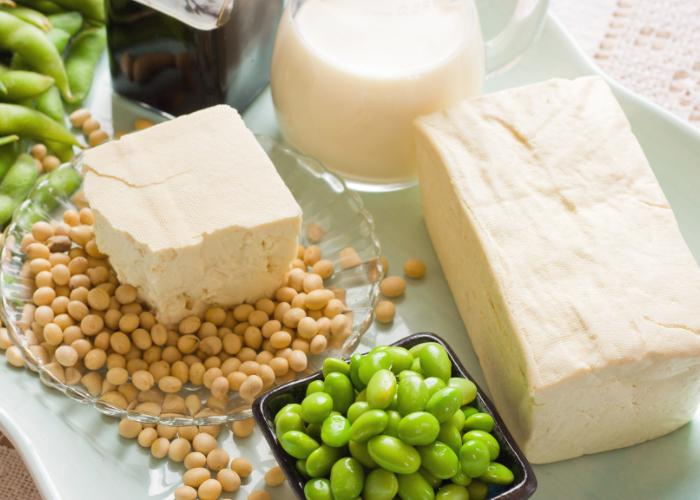 A spread of tofu and soybeans - both green edamame and white soybeans