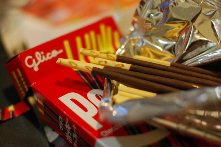 Package of Pocky, the Japanese chocolate coated biscuits