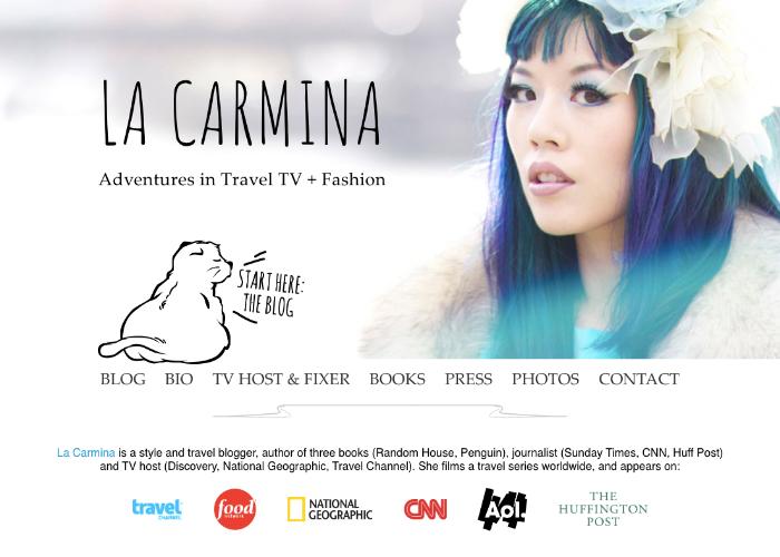 La Carmina website screenshot, featuring an image of the blogger