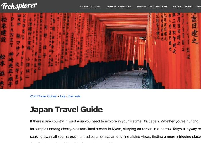 Japan Travel Guide page on Canadian Food Blog, Treksplorer