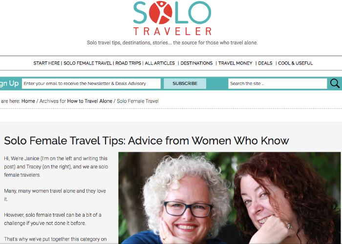 """Page reading """"Solo Female Travel Tips"""" from Solo Traveler World"""